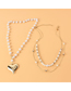 Fashion Gold Color Multilayer Pearl Alloy Peach Heart Necklace
