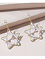 Fashion White Hollow Five-pointed Star Pearl Earrings