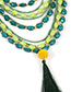 Exaggerate Royalblue Long Tassel Decorated Simple Multilayer Necklace