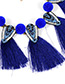 Exaggerate Royalblue Triangle & Tassle Decorated Simple Necklace
