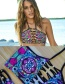 Fashion Multi-color Painted Design Simple Hollow Out Swimwear
