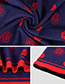 Fashion Pink+navy Flower Pattern Decorated Scarf
