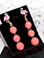 Trendy Pink Flamingo Decorated Round Ball Design Earrings