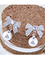 Fashion Silver Color Full Diamond Decorated Bowknot Shape Earrings