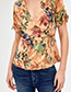 Fashion Khaki V-neckline Shape Decorated Blouse