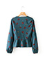 Fashion Green Flower Shape Decorated Blouse