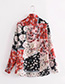Fashion Black+red Flower Decorated Long Sleeves Shirt