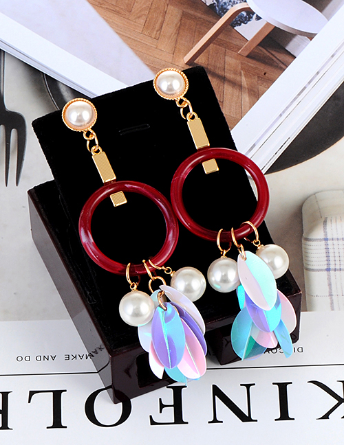 Elegant Light Blue Pearls&circular Ring Decorated Earrings