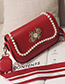 Fashion Red Pearls&diamond Decorated Square Shape Bag