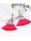 Fashion Black Waterdrop Shape Decorated Tassel Earrings