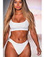 Sexy White Pure Color Decorated Simple Swimwear