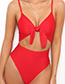 Sexy Red Bowknot Shape Decorated One-piece Swimwear