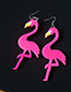 Fashion Plum Red Flamingos Shape Decorated Earrings