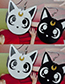Fashion Black+white Cat Shape Decorated Earrings