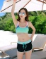 Sexy Black+green Color Matching Design Casual Swimsuit(4pcs)