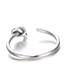 Elegant Silver Color Pure Color Decorated Opening Ring