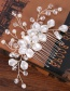 Elegant Silver Color Beads&pearls Decorated Pure Color Hair Comb