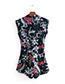 Vintage Multi-color Flower Pattern Decorated Sleeveless Jumpsuit