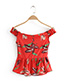 Vintage Red Leaf Pattern Decorated Off Shoulder Blouse