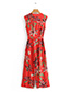 Vintage Red V Neckline Design Sleeveless Long Dress