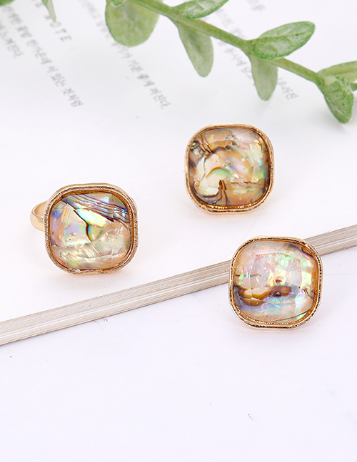 Fashion Gold Color Square Shape Decorated Earrings&rings Set (12 Pcs )