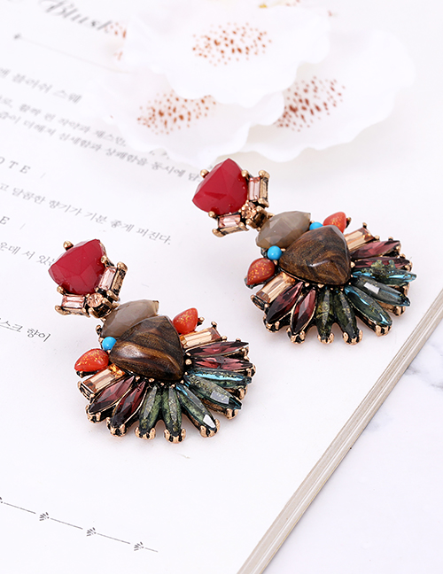Fashion Khaki Geometric Shape Decorated Earrings