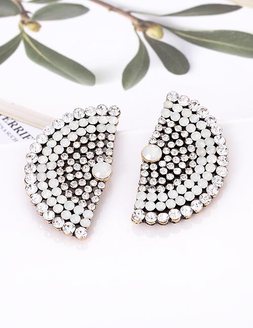 Fashion Black Full Diamond Decorated Sector Shape Earrings