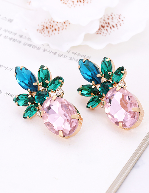 Fashion Pink Pineapple Shape Decorated Earrings