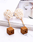 Fashion Beige Round Shape Decorated Hollow Out Earrings
