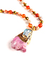 Trendy Light Pink Beads&gemstone Decorated Long Necklace