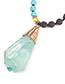 Trendy Light Green Water Drop Shape Pendant Decorated Necklace