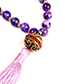 Trendy Pink Beads Decorated Long Tassel Necklace