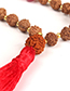Vintage Coffee Tassel&beads Decorated Long Necklace
