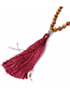Vintage Blue+green Color Matching Design Long Tassel Necklace