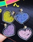 Fashion Purple Beads Decorated Heart Shape Earrings
