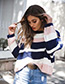 Fashion Multi-color Stripe Pattern Decorated Sweater