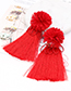 Fashion Red Flower Shape Decorated Tassel Earrings
