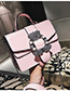 Fashion Pink Belt Buckle Decorated Bag