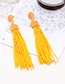 Fashion Claret Red Pure Color Decorated Tassel Earrings