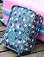 Fashion Navy Grid Pattern Decorated Storage Bag