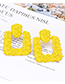Fashion Gold Coor Square Shape Decorated Earrings