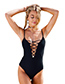 Sexy Black V Neckline Design Pure Color Swimwear
