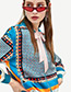 Fashion Blue Geometry Pattern Decorated Coat
