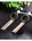 Fashion Black+gold Color Round Shape Decorated Tassel Earrings