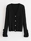Fashion Beige V Necklline Design Pure Color Sweater