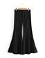 Fashion Black Pure Color Decorated Pants