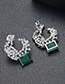 Fashion Silver Color+green Moon Shape Decorated Earrings