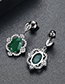 Fashion Black+green Oval Shape Decorated Earrings