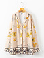 Fashion Beige+yellow Flowers Pattern Decorated Simple Coat
