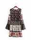 Trendy Multi-color Embroidery Design Round Neckline Dress